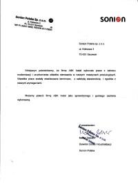 List referencyjny Sonion